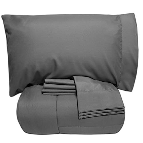 Sweet Home Collection 7 Piece Bed-In-A-Bag Solid Color Comforter & Sheet Set, Full, Gray