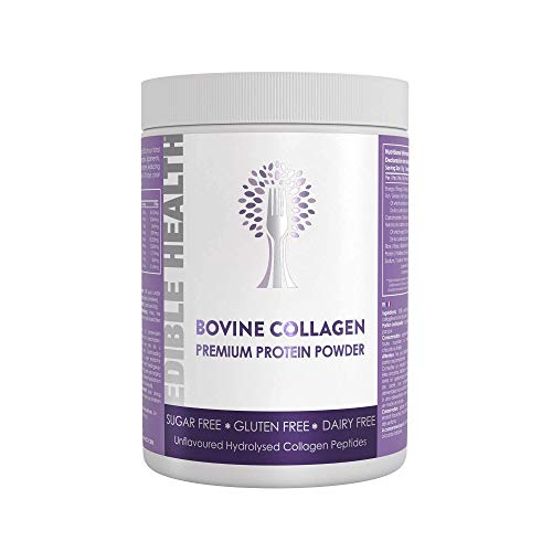Edible Health Bovine Collagen Powder, 400g Tub, Supplements Hydrolysed Protein Peptides 13x Stronger Than Capsules + Liquids Contains 18 Essential Amino Acids. Paleo, Keto, Kosher, Halal 30 Day Supply