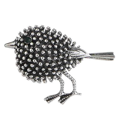 IPOTCH Vintage Broche De Pájaro Pin Piedras De Strass Cristal Antiguo Ramilletes Forma De Animal - Plata Antigua, Tal como se Describe