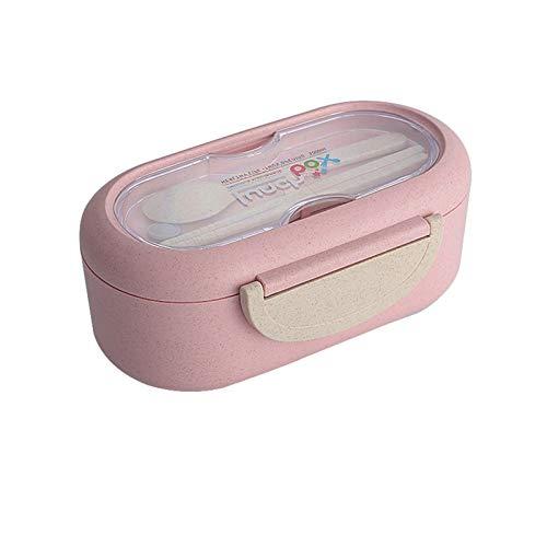 MJJCY Microondas Almuerzo Caja de Trigo Paja Vailware Alimentación Contenedor Recipiente Niños Niños Escuela Oficina Portátil Bento Box Bag Bolsa (Color : Pink 3)