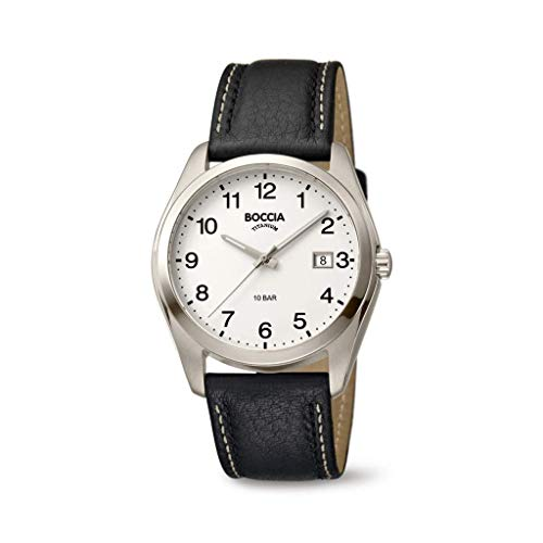 Boccia Herren Analog Quarz Uhr mit Leder Armband 404TT3608-13
