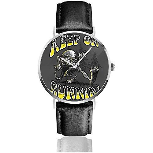 Keep On Running Aliens Xenomorph Relojes Reloj de Cuero de Cuarzo con...
