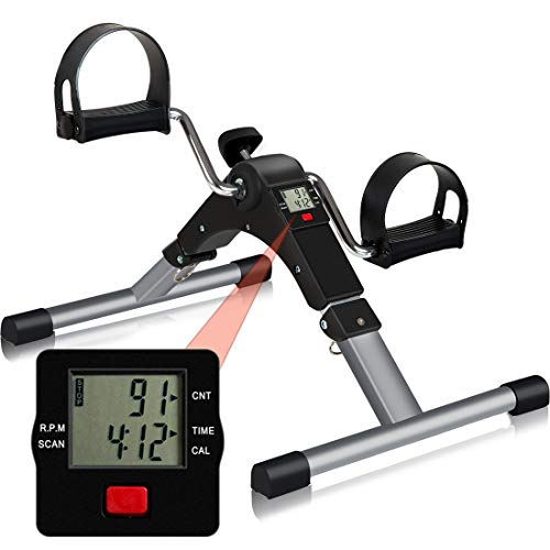 Folding Pedal Exerciser, CNTLIFE Portable Stationary Mini Exercise Bike Leg Arm Trainer for Elderly Men Women, Adjustable Resistance Pedal Exerciser with Electronic Display