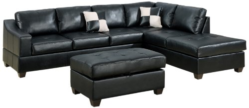 Hot Sale Bobkona Jaxson Collection 3-Piece Bonded Leather Match Reversible Sectional Sofa with Matching Ottoman, Black