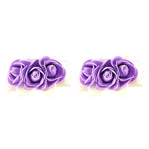2 STKS Bruiloft Pols Corsage Party Mooie Hand Lint Bloem Bruidsmeisje Pols Prom Bruiloft Party Decoraties (Purple)
