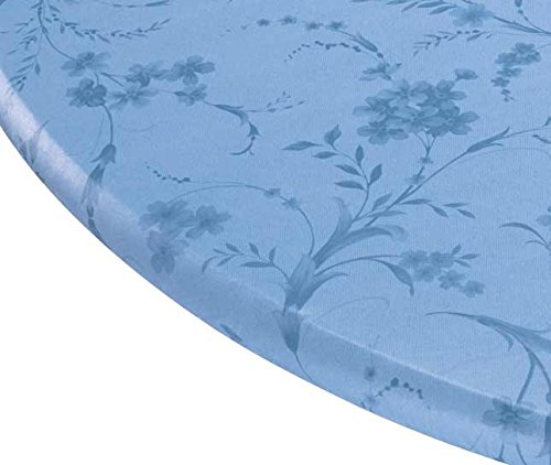 Miles Kimball Floral Swirl Vinyl Elasticized Table Cover, 42 x 68 Inch Oval, Blue