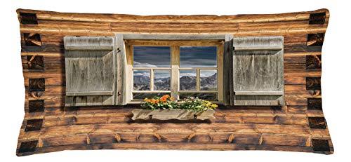 ABAKUHAUS persiane Federa Fodera Cuscino, Vista dal Rifugio, Copricuscino Quadrato Decorativo, 90 cm x 40 cm, Marrone, Verde,