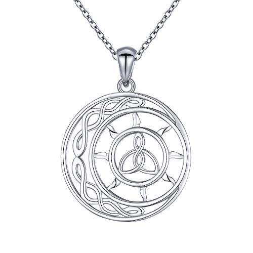925 Sterling Silver Good Luck Irish Sun Moon Celtic Knot Pendant Necklace Gift for Women Teens, 18 inch