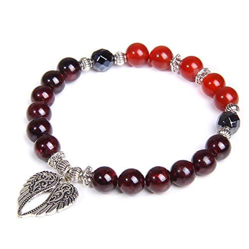 YITIANTIAN Cuentas de Piedra de Granate Natural Reiki con alas de ángel, Pulsera Colgante para Mujer, Cuentas Rojas de Agat, Pulsera con dijes, joyería de meditación
