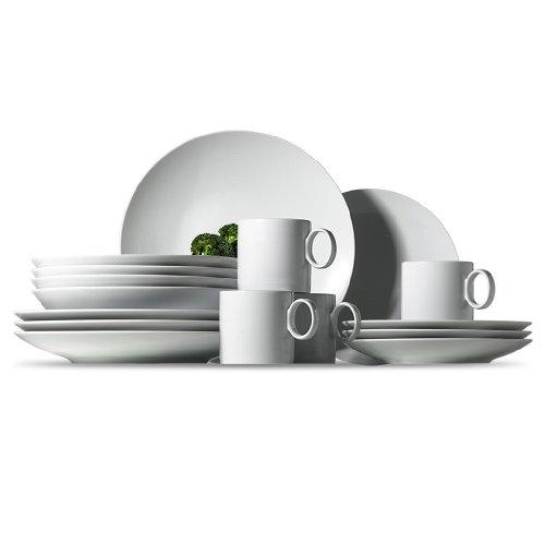 Thomas' Loft - Vajilla de porcelana de 16 piezas, 4 platos de desayuno, 4 platos llanos, 4 platos hondos y 4 tazas, color blanco