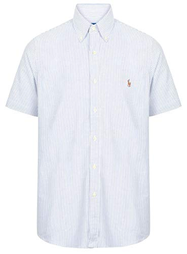 Photo of Ralph Lauren Mens Short Sleeve Oxford Shirt Classic Fit (S, Blue/White Stripe)