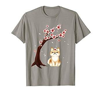Shiba Inu Dog Japanese Cherry Blossom Sakura Flower T-Shirt