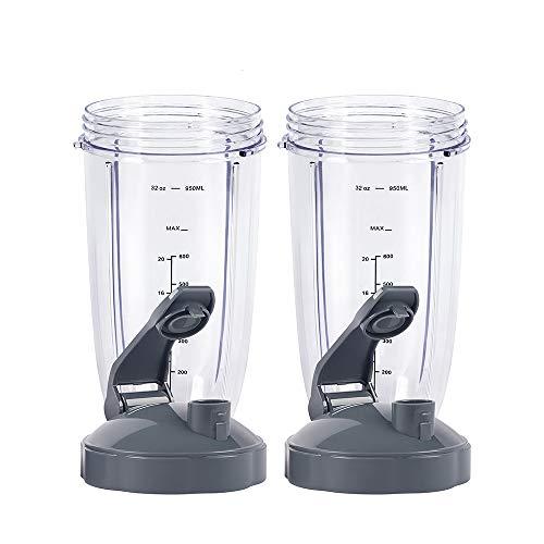 Piezas de repuesto para licuadora, taza de 32 onzas con tapa abatible para llevar, compatible con batidoras Nutribullet 600 W 900 W (paquete de 2)
