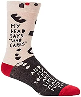 Blue Q Mens Crew Sock,My Head Says Who Cares And My Socks Are Like Yeah,Mens Shoe Size 7-12