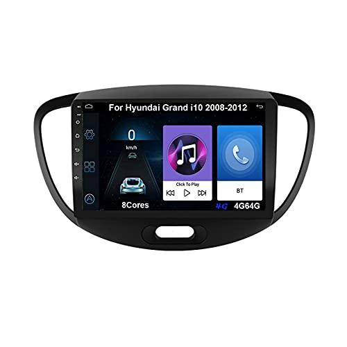 Android 10 Autoradio 9 Pulgadas Coche Radio De Coche Pantalla Tactil Para Hyundai Grand i10 2008-2012 Con Pantalla Coche Conecta Y Reproduce Bluetooth Video SWC Cámara Trasera