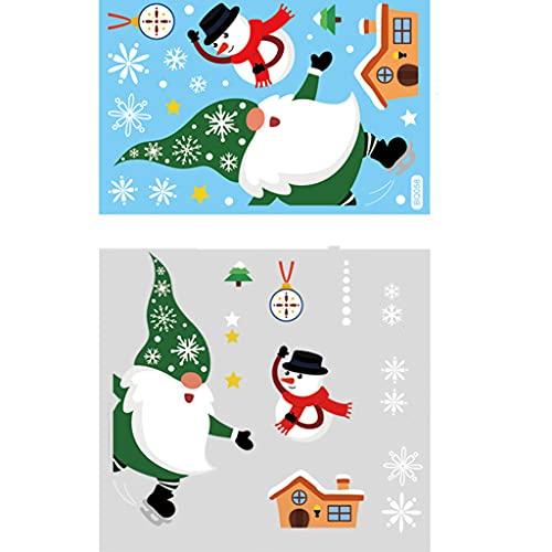 JULYCICIYA Adesivo Natalizio Adesivi per finestre Natalizie Adesivi elettrostatici Babbo Natale Pupazzo di Neve GNOME Vetrofanie