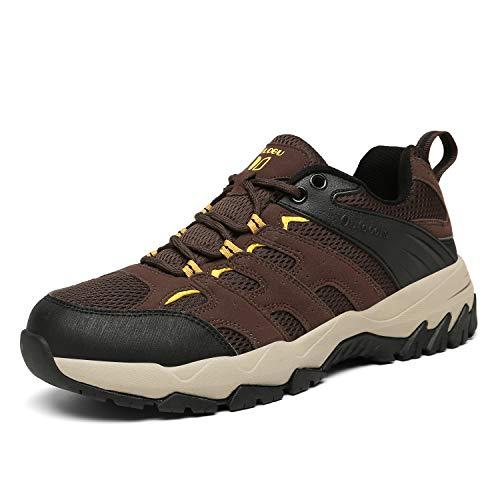FOGOIN Wanderschuhe Herren Damen Leicht Low Trekkingschuhe rutschfest Atmungsaktiv Outdoor Walking Schuhe Sportlich Trekking-& Wanderhalbschuhe, Braun, Gr.39