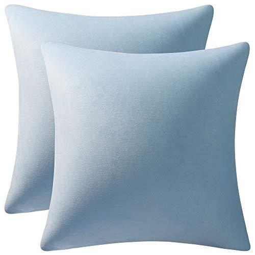 DEZENE Throw Pillow Cases 16x16 Light-Blue: 2 Pack Cozy Soft Velvet Square Decorative Pillow Covers for Farmhouse Home Decor