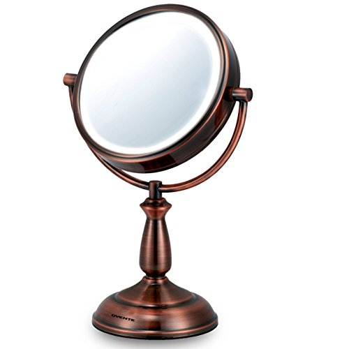 Ovente Tabletop Makeup Vanity Mirror 7.5 Inches with 1X10X Magnification and Cool White LED Light, Double-Sided and 360 Degree Swivel Design, Distortion-Free View, Copper (MLT42CO)