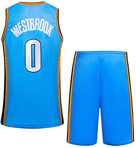 Dll Uomo NBA Oklahoma City Thunder Jersey - Russell Westbrook # 0 Teens Mesh Ricamato di Sport di Pallacanestro Swingman Jersey Maniche Sport Maglia della Parte Superiore Pantaloncini
