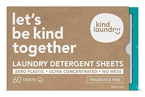 KIND LAUNDRY Detergent Sheets (60 loads, Fragrance Free) - Hypoallergenic Eco-friendly & Biodegradable Eco-Strips for Sensitive Skin Zero Waste & Plastic Free Alternative - Good for Babies & Infants