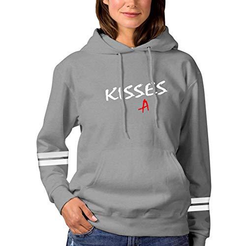 La8La Women's Fashion Printing Long Sleeve Hoodie,Pretty Little Liars Kisses Pullover/Sweatshirts with Pocket and Hat.L Gray