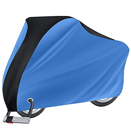Puroma Bike Cover Outdoor Waterproof Bicycle Covers Rain Sun UV Dust Wind Proof with Lock Hole for Mountain Road Electric Bike, XL (Blue & Black)