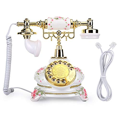 Zhat Teléfonos, teléfono Fijo Antiguo de Estilo rústico con línea telefónica para Salas de Estar, dormitorios para Oficina
