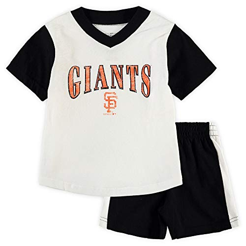 Outerstuff MLB Infants Toddler Little Hitter Short Sleeve V-Neck Shirt & Shorts Set (4T, San Francisco Giants)