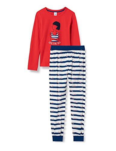 Sanetta Mädchen Schlafanzug lang rot Pyjamaset, fire Thorn, 140