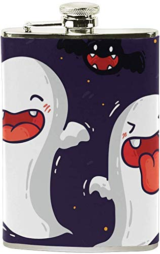 Halloween Cute Elf Ghost Portable 8 Unzen Edelstahl auslaufsicher Flachmann Reisen Camping Wein Topf Flagon