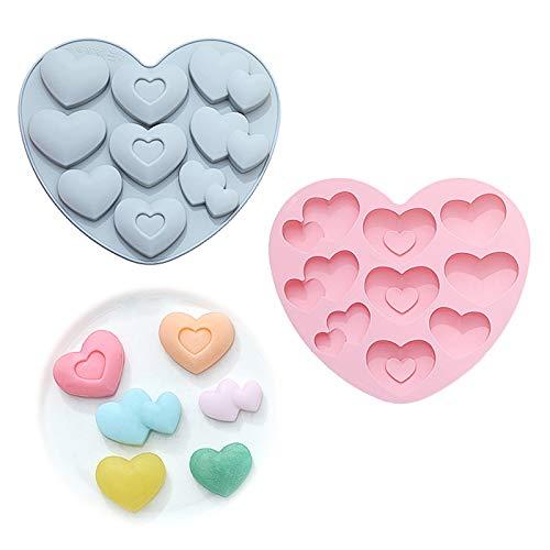 Forma de Corazón Moldes de Silicona para Pastel Chocolate Postre Hornear Molde de Hacer Jabón Corazón Forma para Mousse para Antiadherentes Moldes de Caramelo Gelatina Decoración de Tartas 2 Piezas