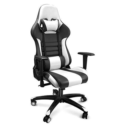 CIJK Sedia da gioco, schienale Alto Sedia da lavoro ergonomica inclinabile per PC Sedia da scrivania girevole per PC con poggiatesta e cuscino lombare (Nero Bianco)