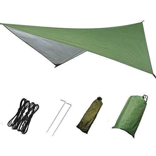 Tienda de campaña de refugio solar, hamaca, impermeable, protección UV, impermeable, ligera para camping, mochilero, aventura al aire libre, No nulo, Verde militar, 230x140