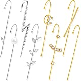 8 Pieces Ear Cuff Wrap Crawler Hook Earrings Ear Studs Alloy Rhinestone Ear Jewelry for Valentine, Gold and Silver (Classic Style)