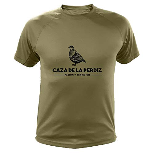 AtooDog Camiseta de Caza, Pasión y Tradición, Caza de la Perdiz (30136, Verde, S)