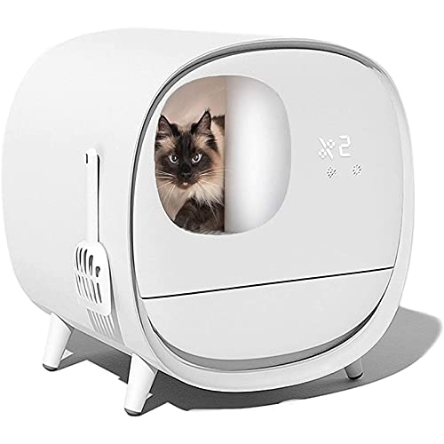 Qendsx Cat Litter Box with Smart Self-Cleaning,litter tray with lid Automatic Deodorant cat litter...