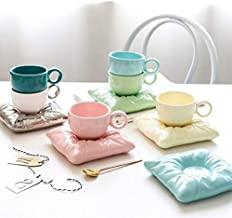 الكوب والصلصات - مجموعة فناجين قهوة مبتكرة من الخزف بمقبض دائري من الشاي مع طبق أوريغامي وأكواب جديدة هدية لزوجتها وحفلة ا...