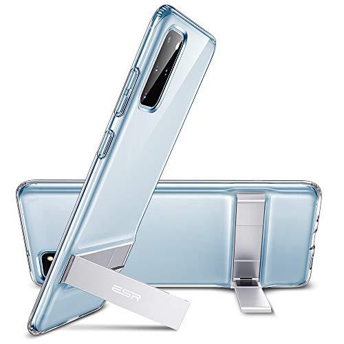 ESR Suporte de apoio de metal compatível com capa Samsung Galaxy S20 Plus, suporte vertical e horizontal, proteção contra quedas reforçada, capa de TPU flexível para Samsung S20 Plus, transparente