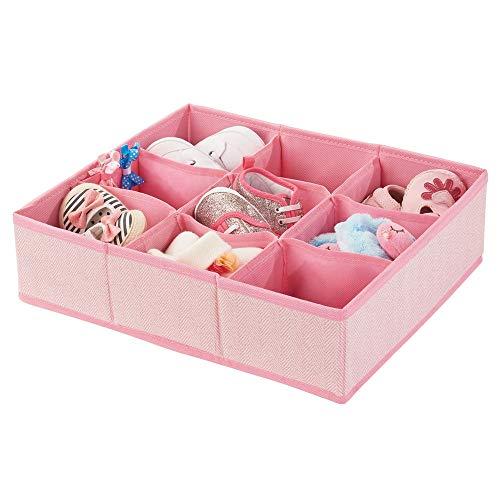 mDesign boîte de rangement en fibre synthétique pour chambre d'enfants, salle de bain, armoire, etc. – module de rangement fibre synthétique – boîte en tissu à 9 compartiments – rose à motif chevron