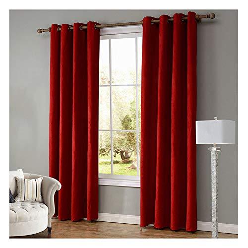 70% Blickdichter Vorhang mit Ösen Wohnzimmer Blickdicht Verdunkelungsgardine,Rot,52 * 84 Inch