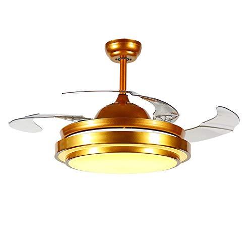 APENCHREN luxe plafondventilator met licht en afstandsbediening, voor woon- en slaapkamer, moderne, eenvoudige plafondventilatoren, 3 dimbare lampen (55 inch) goud