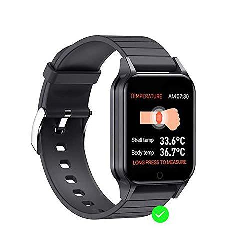 JIAJBG Smartwatch de Medición Del Termómetro, Reloj Elegante Termómetro, Medir la Temperatura Fiebre Inteligente Reloj Pulsera de Alerta Sport Fitness Tracker, Hombres Niños Y Mujer