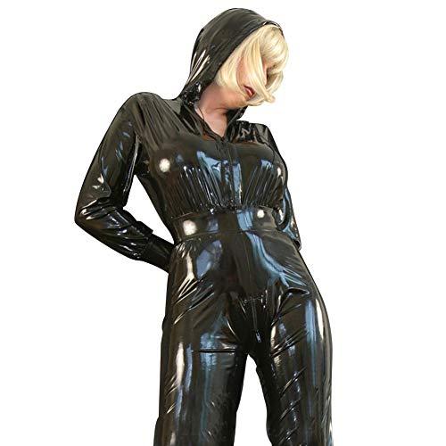 Latex Gummi Cosplay Catsuit Schwarz Zentai Reißverschlüsse Kostüm Fetisch Hoodies Bodysuit 0,4mm (XXL)