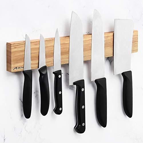 Virklyee Edelstahl Magnet Messerhalter Holz Magnetleiste Magnetischen Wand Montierten Messer Rack, Magnetmesserstreifen sparen Platz (Holzmaserung -16 IN)