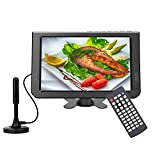 GJY 10.1 inch Portable TV Digital Multimedia ATSC+NTSC for Digital TV -USB Slot-Card Reader Function and Rechargeable Battery (not Support DVD disc Playback) Black