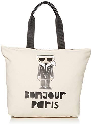 Karl Lagerfeld Paris Damen Kristen Tote Tragetasche, Natural Bonjour Paris, Einheitsgröße