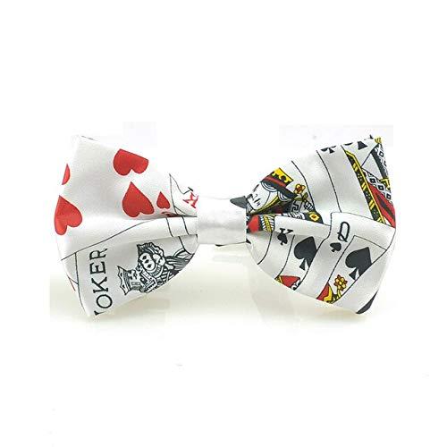 DJLHNRecién Llegado Gentleman Bow Tie Moda Playing Cards/Poker Rojo Negro 3 Pajarita Mixta Hombres Unisex Tuxedo Tie Party Tie - Poker White 03