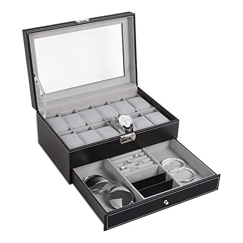 GenericBrands Caja de Almacenamiento de exhibición de joyería de Reloj Negro, Organizador de Almacenamiento de exhibición de Caja de joyería de Reloj de Hombre de Cuero de PU de Doble Capa