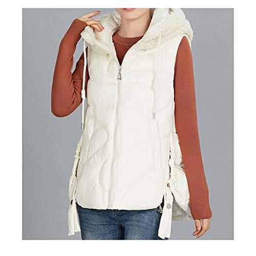 Chalecos abrigados para mujer Con capucha de la chaqueta del chaleco del espesamiento caliente cordero gorro de lana sin mangas caliente chalecos de abrigo de algodón abajo chaleco otoño y del inviern